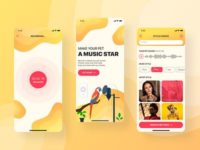 Musical Pet UI/UX Mobile App Design mobile app mobile ui mobile sound pets pet music editor music app ui music app music designline dsgnlinegym