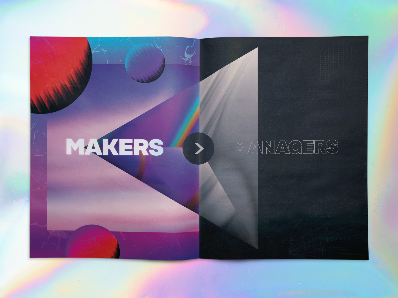 Makers > Managers 80s print illustration gradients vaporwave mailer marketing development design chicago makers