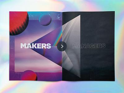 Makers > Managers 80s print illustration gradients vaporwave mailer marketing development design chicago makers