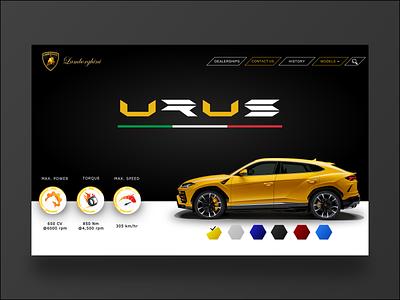 Lamborghini Urus lambo urus lamborghini branding vector ux ui design ui