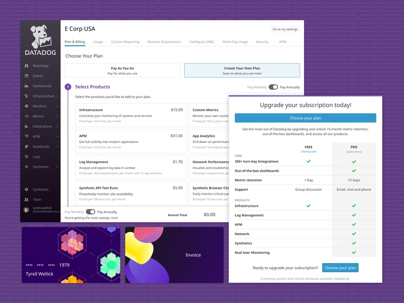 Datadog Subscription Sign-up and Summary customizer summary modal credit card ui  ux ux ui redesign product design design web design billing signup page sign up plan subscriptions style guide styleguide customizable customize