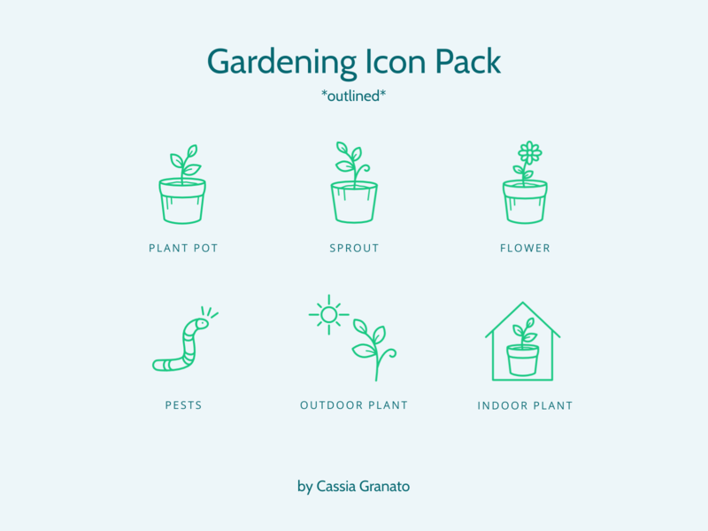 Outlined Gardening Icon Pack icon set iconset design gardening illustration icons design icon design icons pack icons