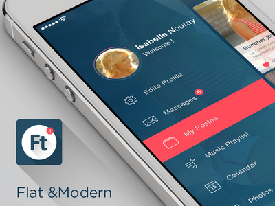 Flat Mobile UI/UX Concept +download flat mobile app transparent ui kit chat concept uiux pink user interface