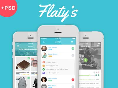 Flaty's – Flat Mobile App UI Design +download app app element app flat app kit app ui calendar dashboard flat element