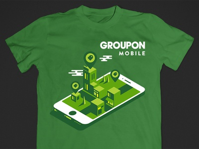 Groupon Mobile T logan miller tshirt product design groupon map buildings city mobile flat illustration