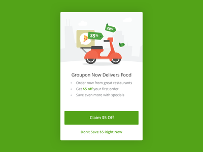 Groupon Delivery & Takeout modal city delivery food scooter flat illustration mobile android ios app