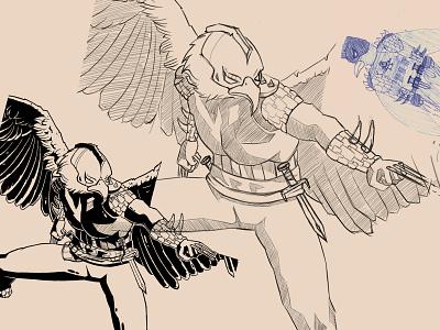 Eagle Man mutant dangerous hero monster bright color characterdesign illustration character