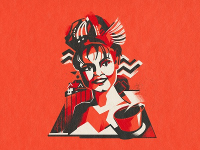 Lora Palmer retro peaks twin palmer lora girl design flat bright color characterdesign illustration character
