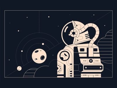 When the kid next door walks on the moon bw black and white blackandwhite sky planet astronaut space modern vector flat character illustration