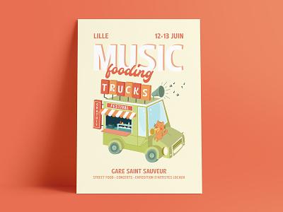 Music Fooding Trucks Festival cat truck food print poster affiche festival music food truck branding vector design visual design illustration graphic design