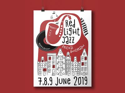 Red Light Jazz Festival - Amsterdam poster illustration print design graphic design