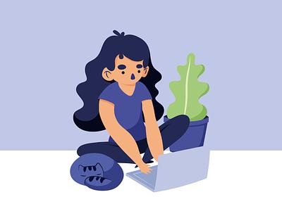 Working lady - Blue Girls website ux ui flat vector design illustration