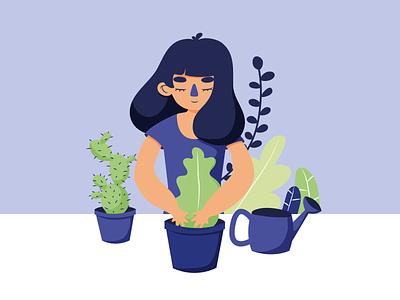 Plant Lady - Blue Girls flat ux website ui vector design illustration