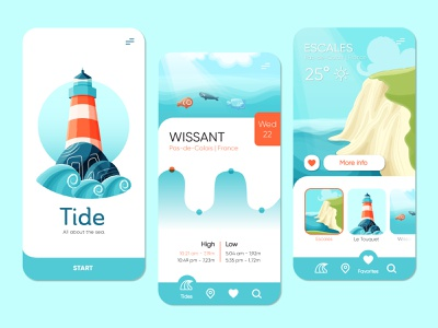 Tide - Mobile App weather landscape lighthouse sea tide mobile app design mobile ui mobile app app design app branding visual design ui design design ui illustration graphic design