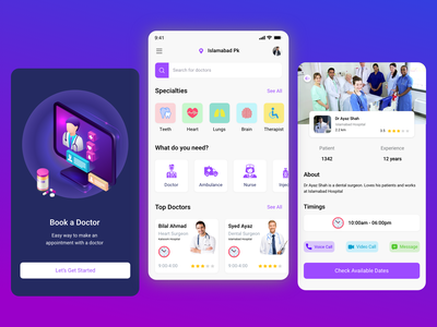 Doctors booking and Medication App vector design ui