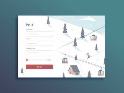 Sign Up Form snowboard ski snow ui form signup