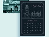 2020 Calendar Design - March design cities 2020 calendar graphic design illustration city illustration art deco print design 2020 calendar print calendar design romania alba iulia