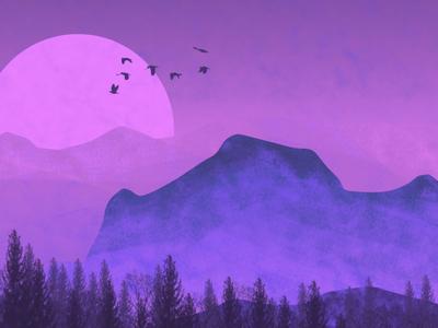 Purple Landscape by Night