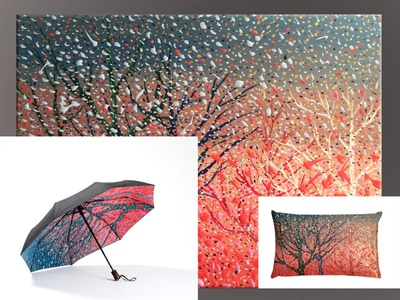 ''Just Another Winter'': artwork, umbrella, pillow.
