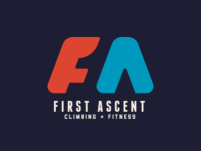 First Ascent Climbing Gym arrow up one negative space first fitness gym climbing logo