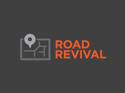 Road Revival roadtrip waypoint software mobile identity map road app logo