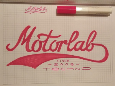 Motorlab Records logo lettering type stasdodesign script wordmark logotype logo lettering calligraphy hand drawn branding