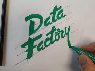 Data Factory handlettering hand drawn calligraphy logotype logo script typography type wordmark lettering branding