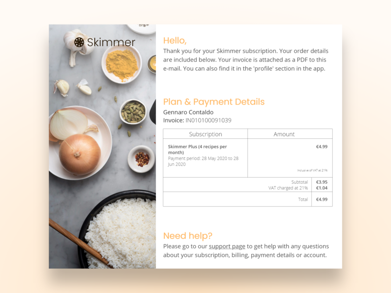 DailyUI #17 - E-mail Receipt e-mail logo branding subscription payment invoice receipt ux app ui design dailyui