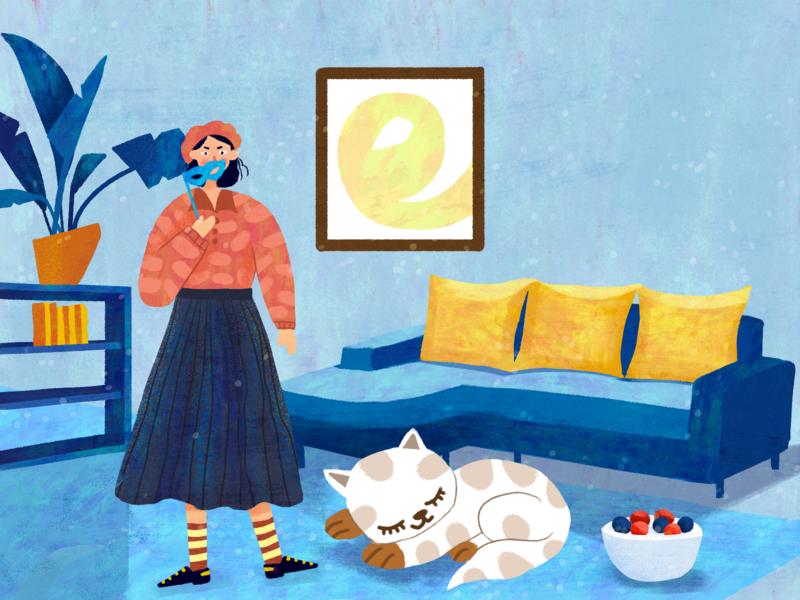 面具女孩 illustration