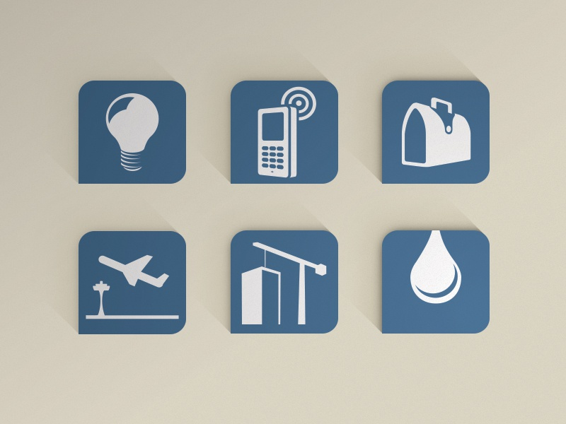 Icon set for Africa resources.  icons set blue light bulb phone brief case airport construction water