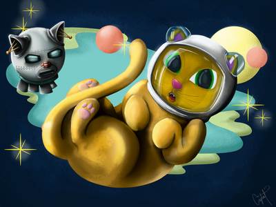 Space Kitty cats space illustration digital artwork