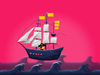 PLACEMENT nftart nfts nft boat fish water pink after effects illustration animation character hand ship placement