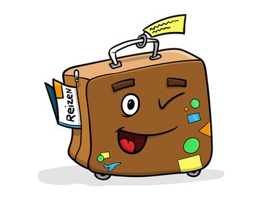Suitcase vacation travel travelling colourful happy illustration luggage suitcase