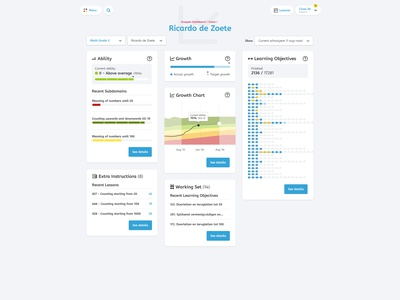 Snappet - Pupil Report pupil teacher menu report education ux ui interface snappet