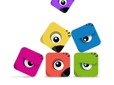 Animal Blocks - Game Concept bird parrot monster illustration puzzle blocks animal concept game