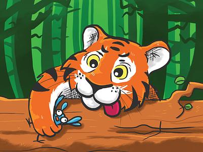 Tiger handdrawn illustration cartoon jungle prey bird animal tiger