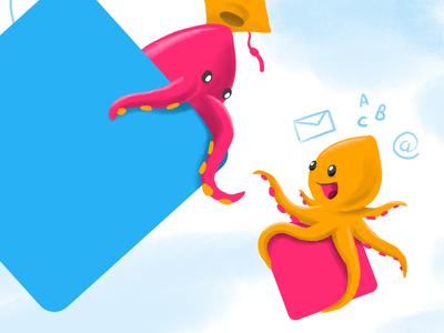 Octo social social media e-learning octo mascotte mascot cartoon orange pink illustration octopus
