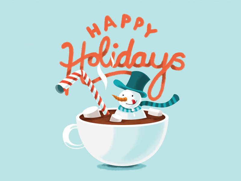 Holidays Card 2017 milk chocolate hot chocolate hot coco blue snow illustration snowman holidays cars new year christmas card