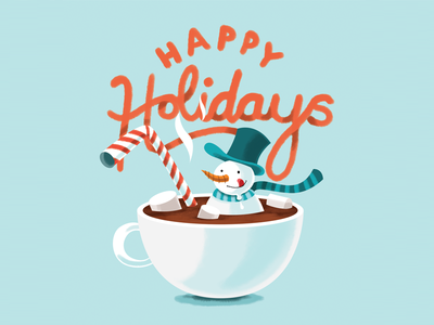 Holidays Card 2017 milk chocolate hot chocolate hot coco blue snow illustration snowman holidays cars new year christmas card