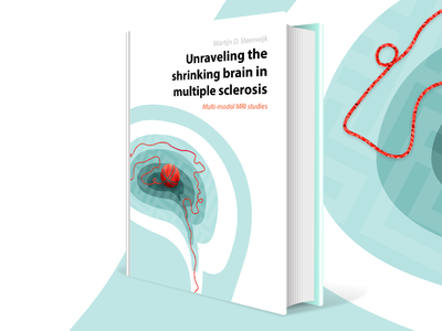 Unraveling the Brain - Book Cover multiple sclerosis human maze head print red wire unravel brain cover book