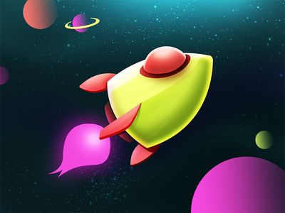 Rocket 🚀 galaxy stars spacetravel alien ufo ship vector illustration neon space rocket