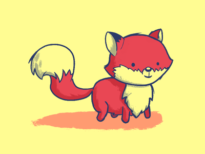 Fox 🦊 nocat pup cartoon animal fox brush illustration