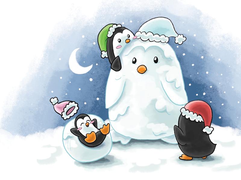 Christmas Card 2019 illustration snowman snow christmas penguin penguins christmas card holidays