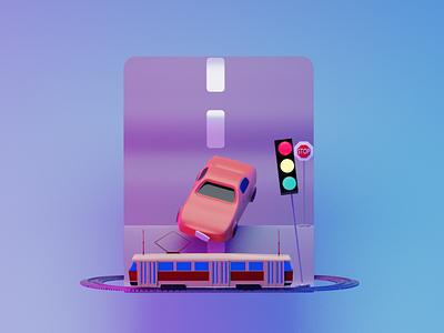 Street concept 3d model lowpoly blender 3d