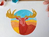 Irish elk gouache painting