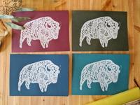 Floral bison screenprints