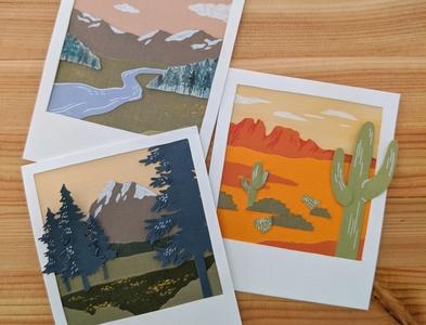 Paper Polaroids: Adventure series polaroid handmade paper art cut paper nature art