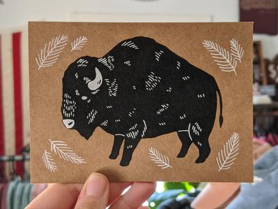 Bison greeting card screenprinting screen print screenprint nature illustration art