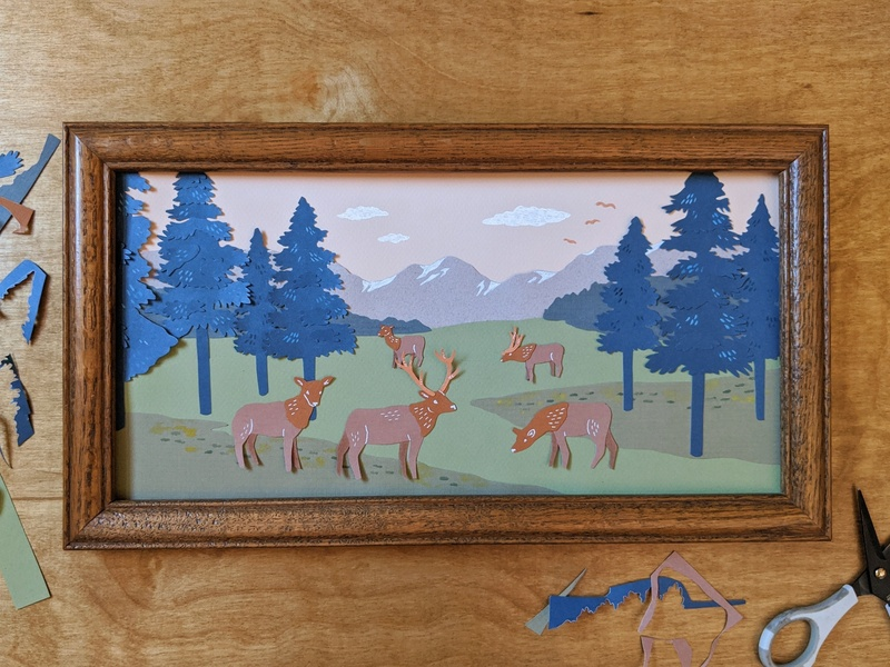 Cut paper elk mountain scene paper art papercut paper cut paper nature illustration art