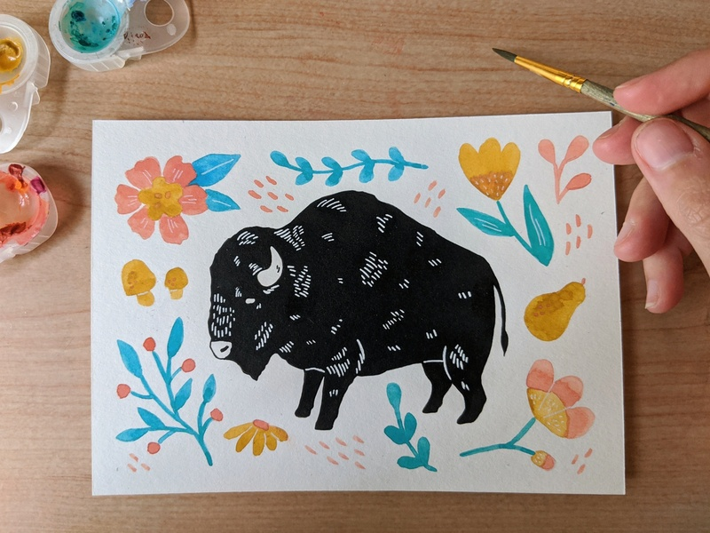 Shaggy bison florals painting screenprint screen print screenprinting illustration nature art